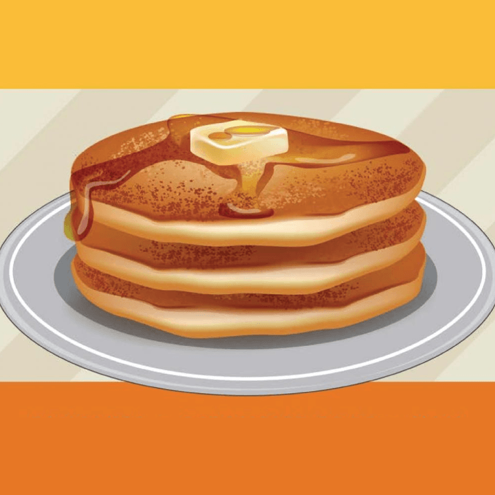 Illustration of a stack of pancakes with a tab of butter.