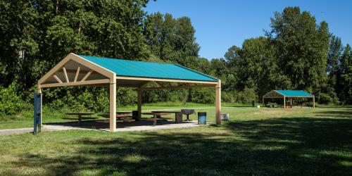 Gazebo with picnic tables
